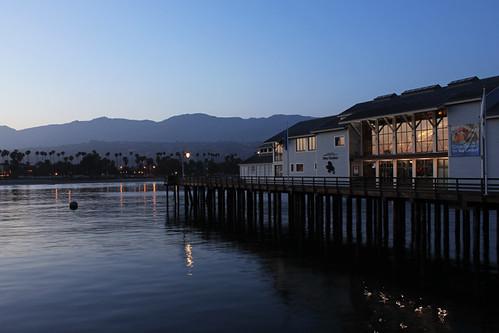 santa barbara ca california sunset stearns wharf pacific ocean palm trees beach water june 2018 museum natural history sea center