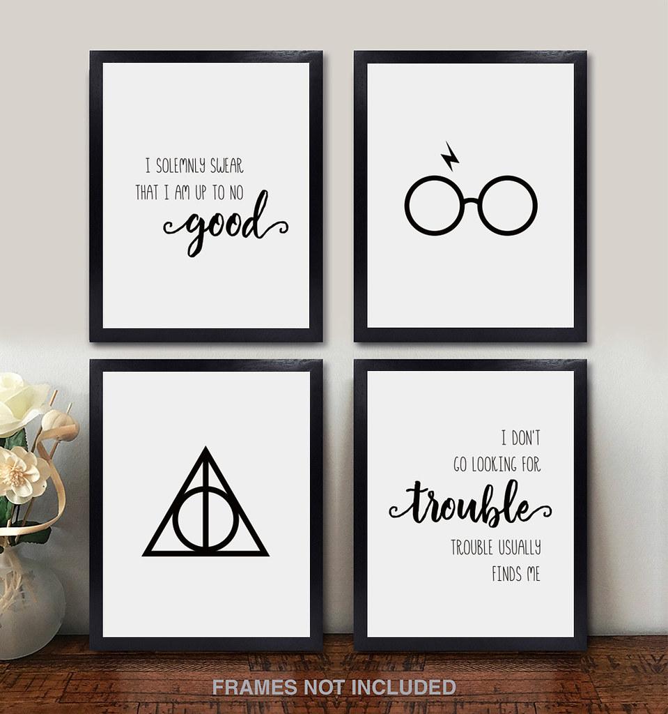 Harry Potter Wall Art Set Of 4 Unframed 8x10 Pearl Print