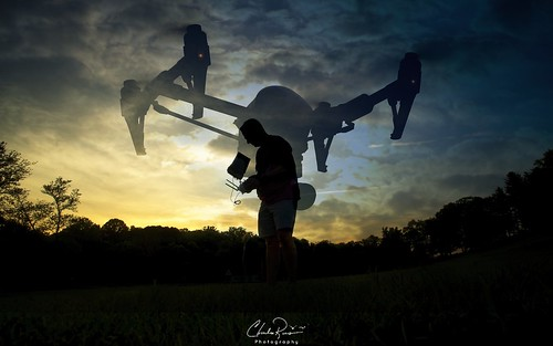 drone sunset landscape outdoor silhouette