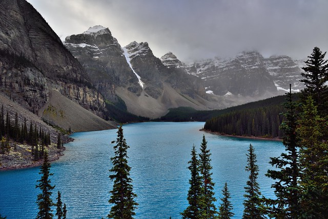 Moraine Lake and the Valley of the Ten Peaks Just Beyond the Trees (Banff National Park)