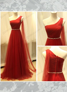 Red color goddess one shoulder airy tulle long # prom gowns | by rubbyrubby15