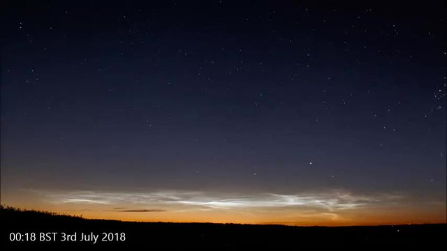 Noctilucent Cloud Timelapse Video from Oxfordshire 2nd/3rd July 2018