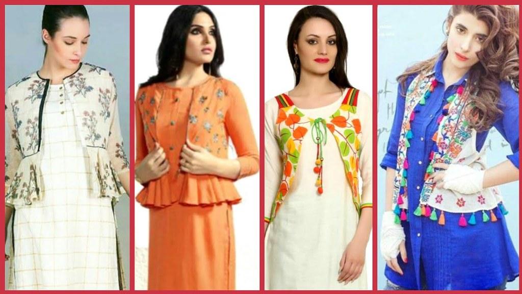 c5046f4de6 ... Latest Cotton Kurta with Short Shrugs Designs Ideas /Stylish Jackets  Designs for Girls 2018