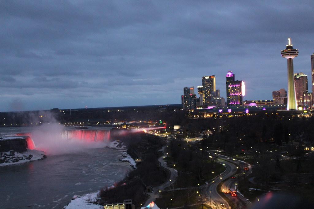 Horseshoe Falls And Niagara Falls Ontario Canada At Night