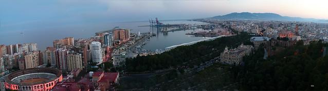 Panorámica  Málaga atardecer