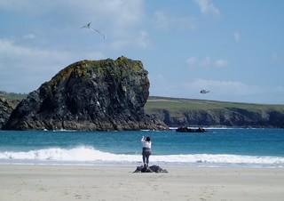 Flying a kite at Kynance Cove, The Lizard, Cornwall