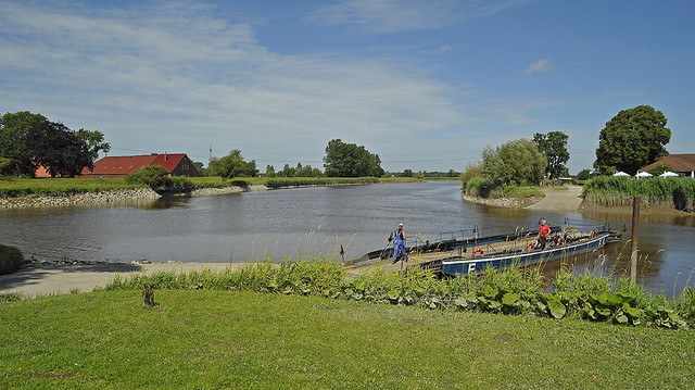 Old hand-operated cable river ferry in East Frisia near Leer