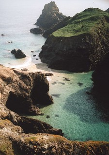 Kynance Cove  - disappearing tidal beach, caves and turquoise sea