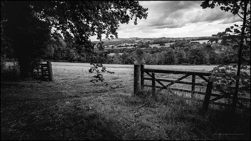 bw derbyshire uk blackandwhite clouds farmgate field grass hills landscape monochrome photoborder sky trees