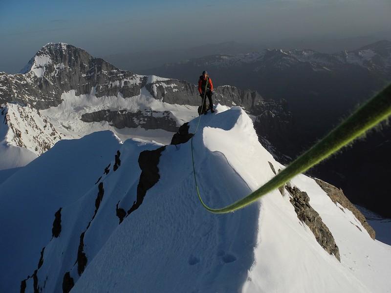 North ridge of the Fiescherhorn. Climber: Darren Sheppard