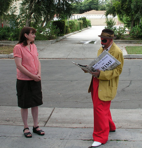Crimebo the Crime Clown reads to Cathy | by richardschave