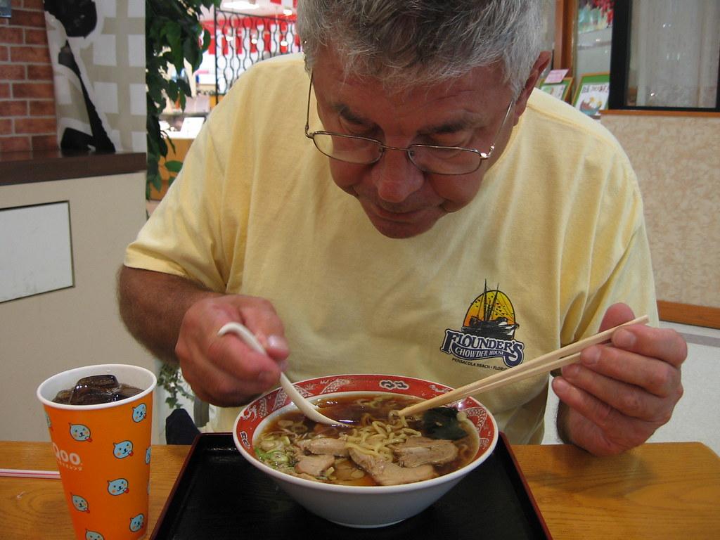 Grandpa enjoying ramen