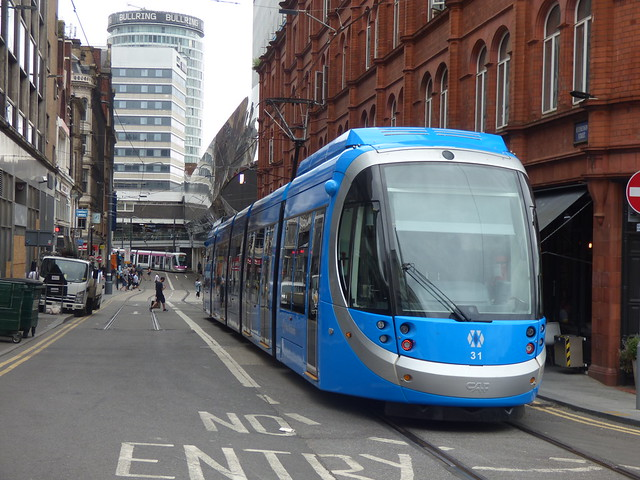 Blue tram 31 - West Midlands Metro at the top of Stephenson Street