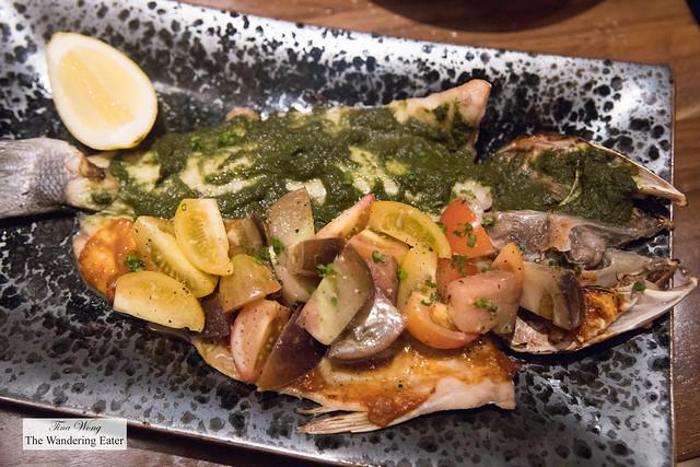 Sigdiwali Macchi - market fish (Branzino was the fish of the day), heirloom tomatoes, pineapple, fermented chili
