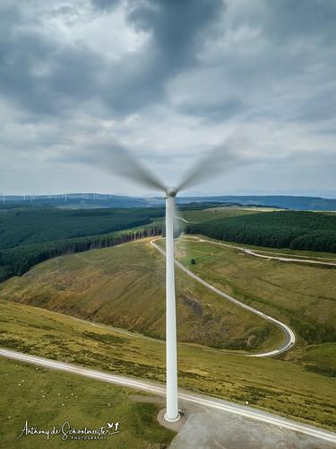 windfarm windturbines abergwynfi valleys wind power windpower clouds sky movement road windingroad wales southwales mavicpro dji djimavicpro arielview explored