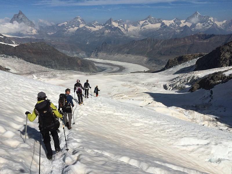 Approaching the Monte Rosa hut above Zermatt. L to R: Matterhorn, Dent Blanche, Obergabelhorn, Zinalrothorn, Weisshorn