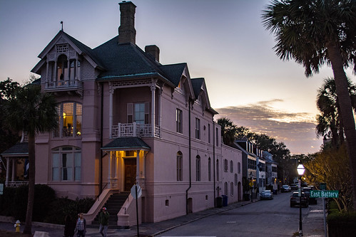 sun sky sunset house riverfront building clouds yellow blue orange trees charleston south carolina sc scenic street tourism