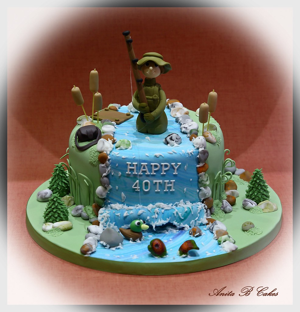 Wondrous Fishing Themed Birthday Cake Anita Barrett Flickr Funny Birthday Cards Online Eattedamsfinfo