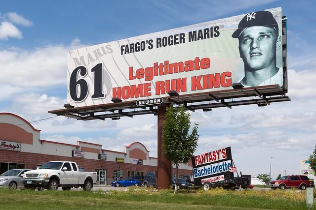 Billboard in Fargo, North Dakota honoring Fargo's native son and New York Yankees baseball slugger Roger Maris as being the legitimate home run king with 61 home runs in 1961.