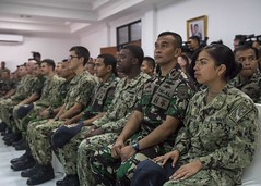 Sailors from USS Rushmore (LSD 47) and members of the Indonesian Navy attend the opening ceremony for exercise Cooperation And Readiness Afloat Training (CARAT). (U.S. Navy/MC3 Reymundo A. Villegas III)