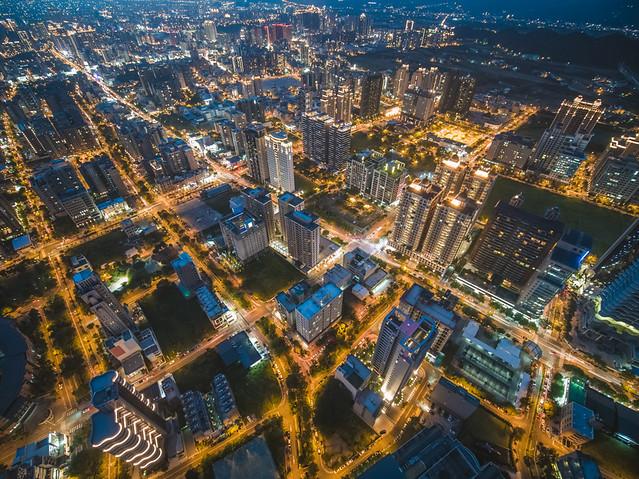 竹北市の空撮夜景