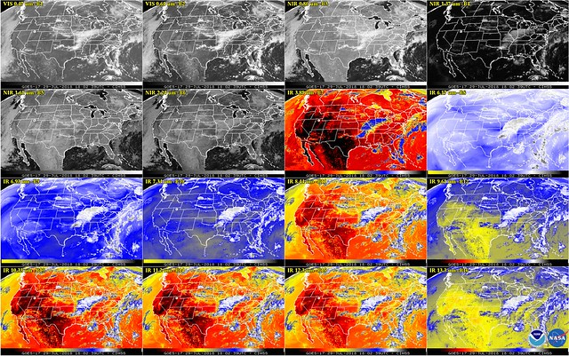 GOES-17 Imagery from all 16 of the Advanced Baseline Imager's Channels
