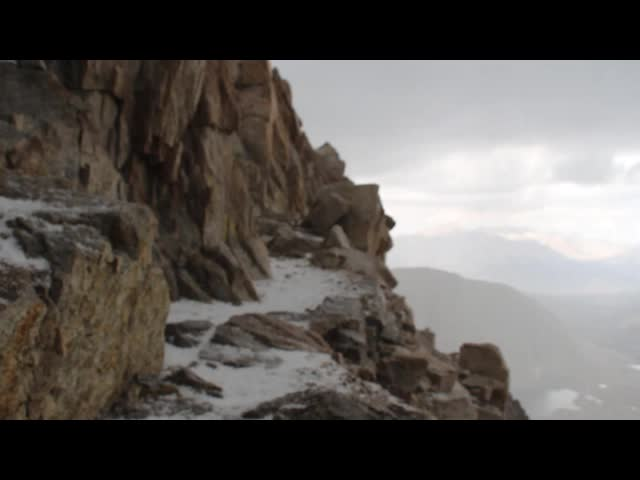 1694 Video of the hail falling on the John Muir Trail near Mount Muir as we descend to Trail Crest