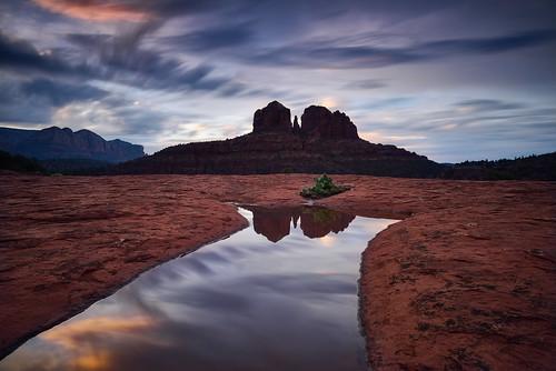 cathedralrock sedona arizona redrock southwest landscape sunrise sky clouds water longexposure color light nikon reflection