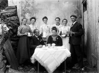 Bride, groom and wedding guests, 1906.