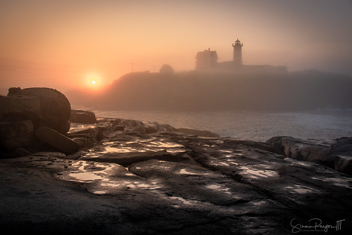 2018 capeneddick dawn fog july lighthouse maine mist nubblelighthouse sohierpark summer sunrise yorkbeach rockybeach water