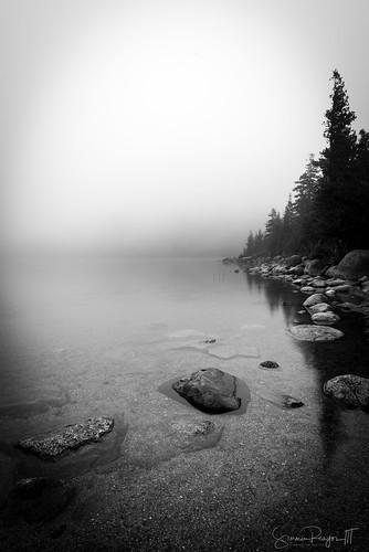 2018 acadia barharbor blackandwhite fog jordanpond july maine mist nationalpark newengland park rock summer thebubbles trees calm rockybeach water