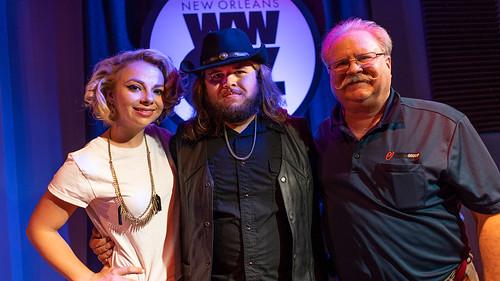 Samantha Fish, Jonathan Boogie Long, and Big D at WWOZ - 8.8.18. Photo by Charlie Steiner.