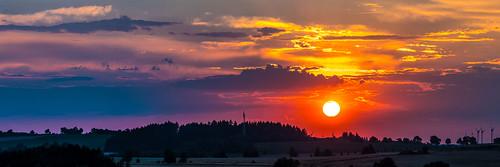sunset vogtland germany saxonia panorama landscape
