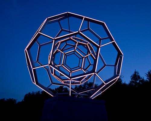 buckyball carbon60 sculpture leovillareal crystalbridges aluminum led dusk bluehour bentonville ar