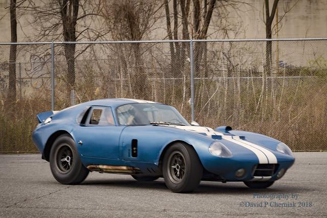 Fred Simeone Driving Demo Days 1964 Shelby Cobra Daytona Coupe CSX2287 (6407) - Simeone Museum Philadelphia, PA 3-25-2017.