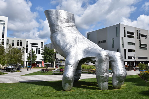 Giant metal hand outside MOCA in Cleveland | by DanCentury
