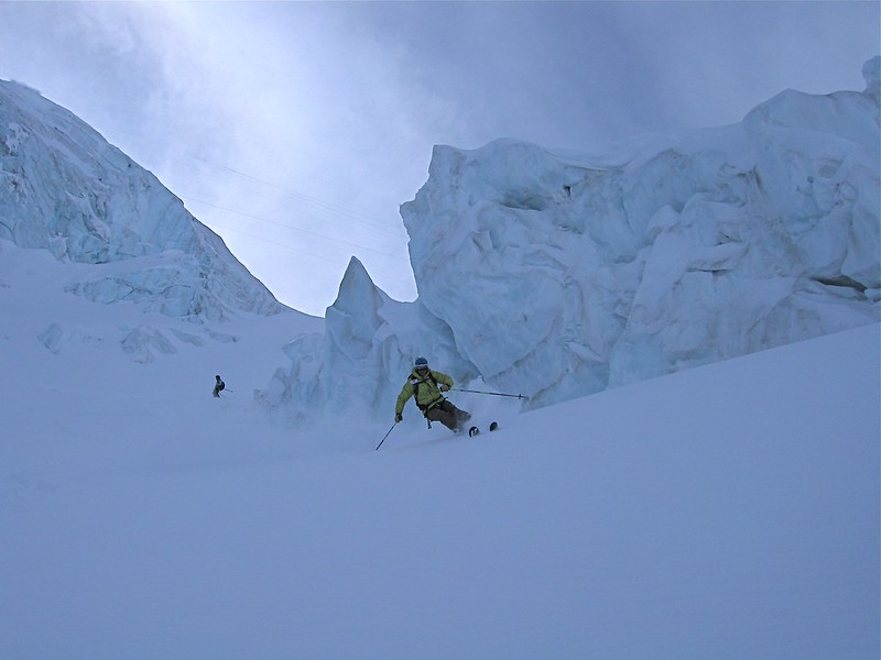 Vrai Vallée Blanche. The true VB is a serious proposition with big crevasses on entry.  Skier: Matt Helliker