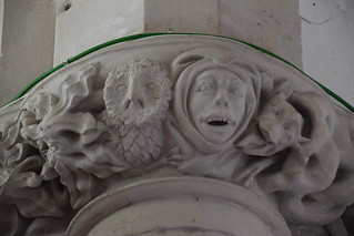 Wisdom and Folly speak in the ears of cowled man (13th Century)