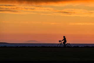 Sunset and a cyclist