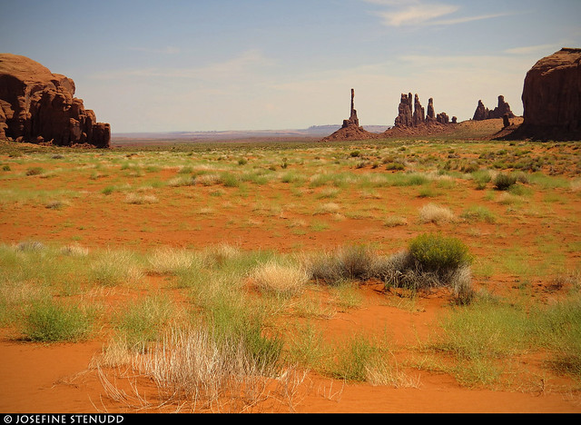 20160824_11 Vegetation, red sand, & the Totem Pole in Monument Valley, Arizona