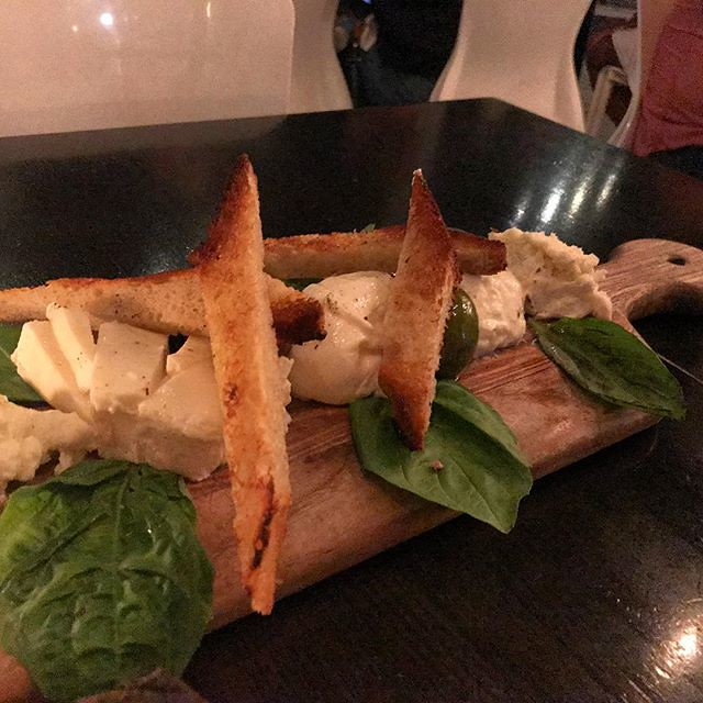 #kvpinmybelly My kind of cheese plate. Burrata Mozzarella at @IsolaPizza in #SanDiego Little Italy. NOM #vegetarian #cheese