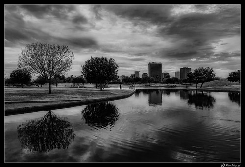 arizona cityscape clouds cloudscape cloudy highrise kenmickelphotography lake lakes landscape outdoors phoenix places pond sky steeleindianschoolpark waterscape architecture blackandwhite building buildings citypark cityparks park photography water unitedstates us