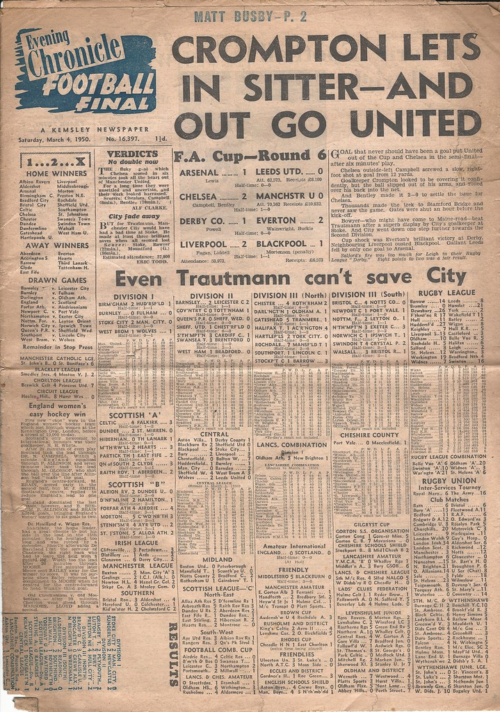 Chelsea v Manchester United FA Cup 6th Round Season 1949-5… | Flickr