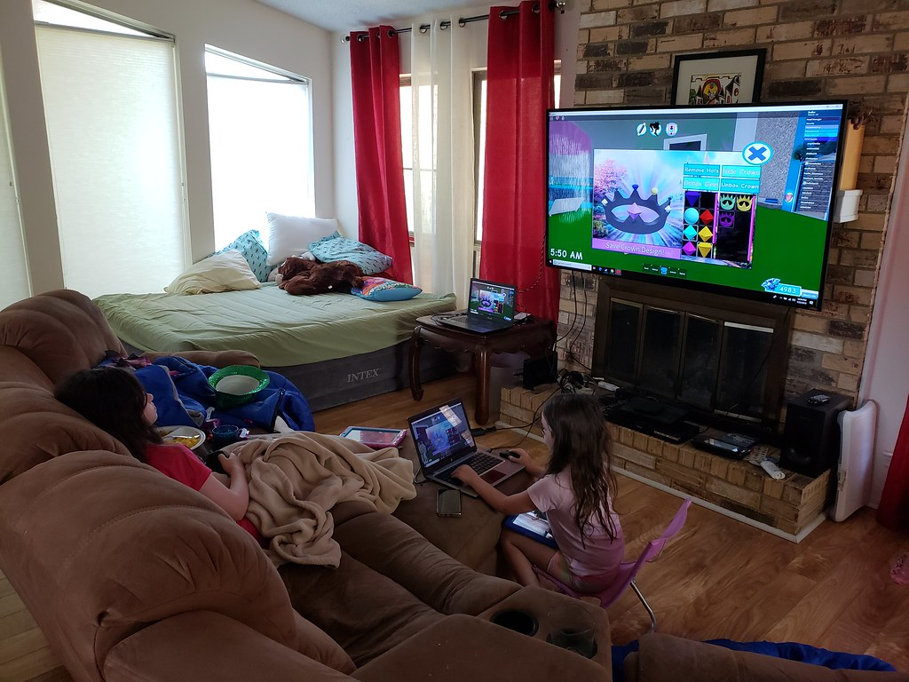 Playing Roblox in the Living Room