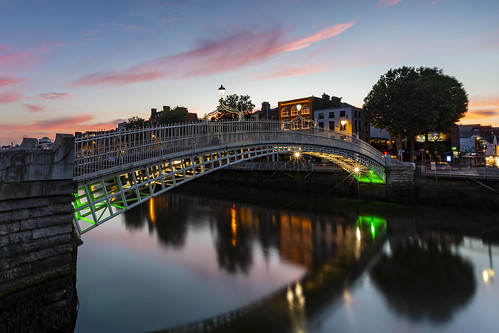 azul ireland irlanda ha´penny bridge puente sunset atardecer