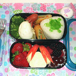 Turtle and rabbit in flower bento 2