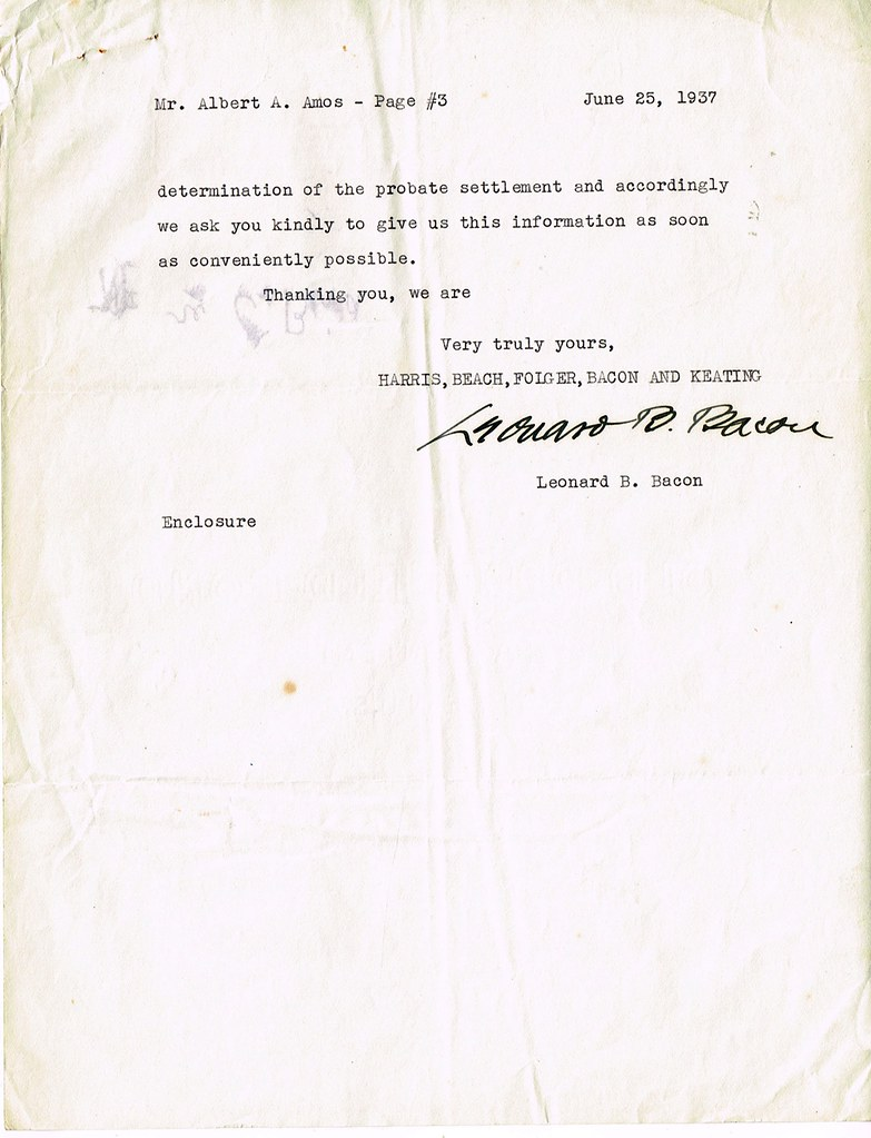 Letter from Lawyer, Rochester, NY to Albert A Amos re his ...