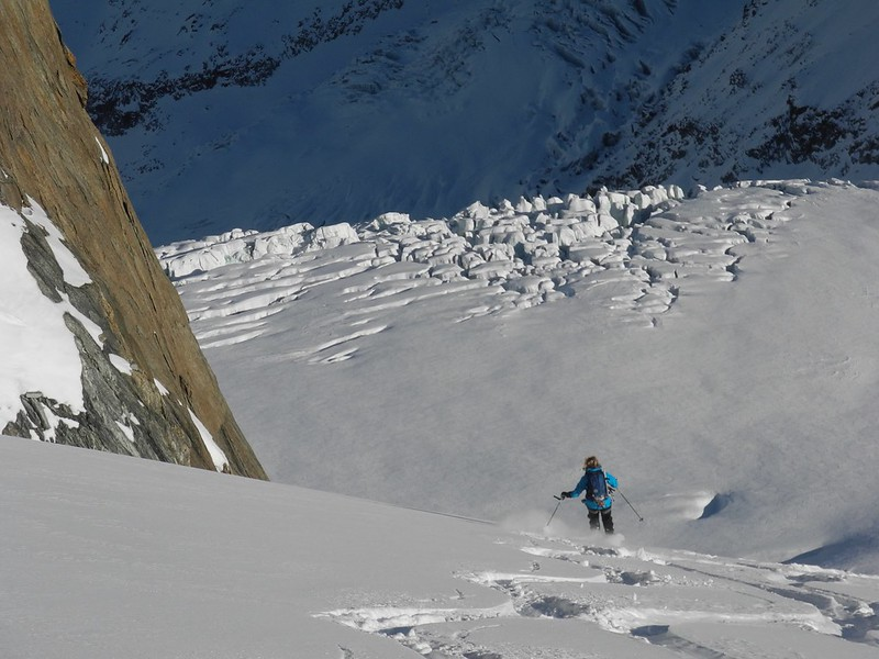 There are many variants. Here's one of the most popular, the Gros Rognon. Skier: Caroline Ogden
