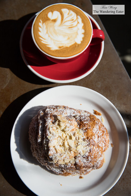 Cappuccino and chocolate almond croissant