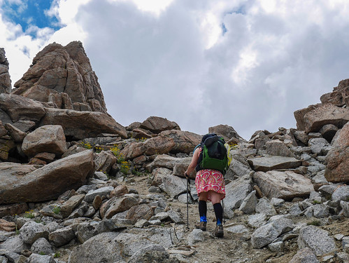 Jessica and Alpine Gold on the use trail up the last bit to Lamarck Col | by snackronym